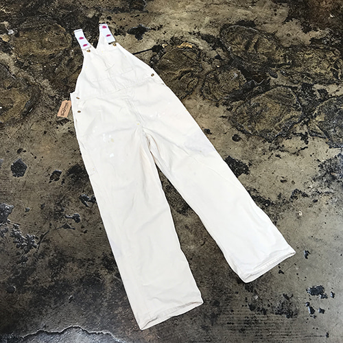 Caboose White Canvas Overalls